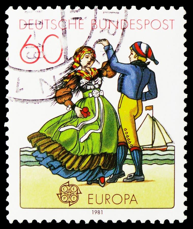 北部德国舞蹈家,欧罗巴C e P T 1981 - 民间传说serie,大约1981年 图库摄影