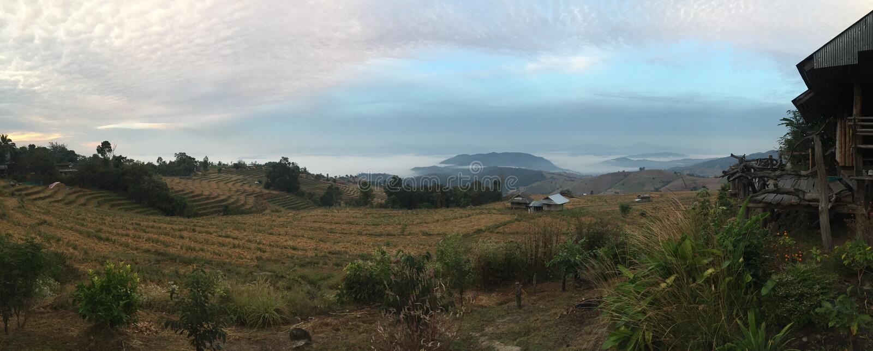 北部泰国nuture绿色@日落的森林 库存图片