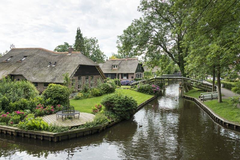 北部的荷兰语威尼斯叫羊角村 免版税库存照片