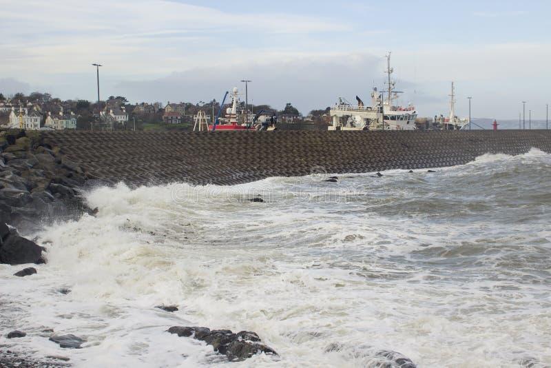 北部码头的面海的边的混凝土蜂窝结构在曼格唐郡在是的北爱尔兰被打击的du 库存照片