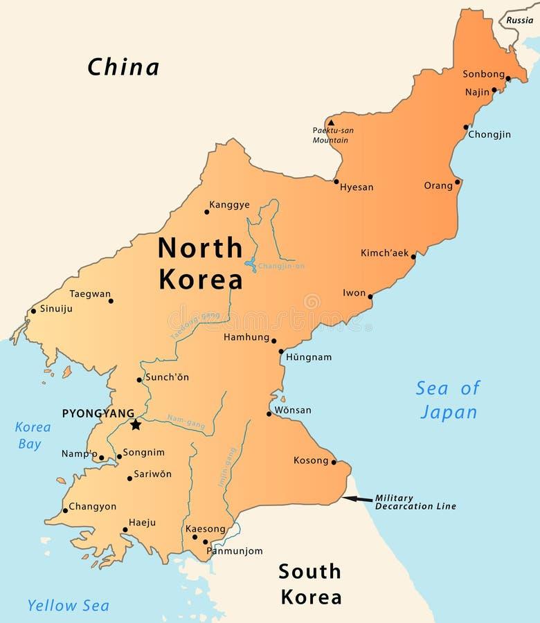 北部韩国的映射 库存例证