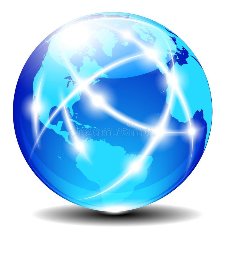 北部,南美,欧洲,非洲全球性通信行星 向量例证