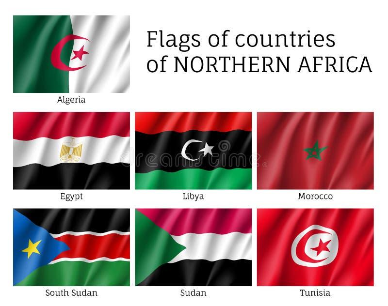 北非洲挥动的旗子集合 向量例证