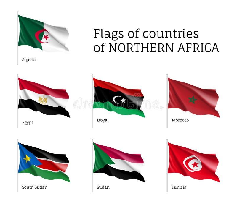 北非洲挥动的旗子集合 库存例证