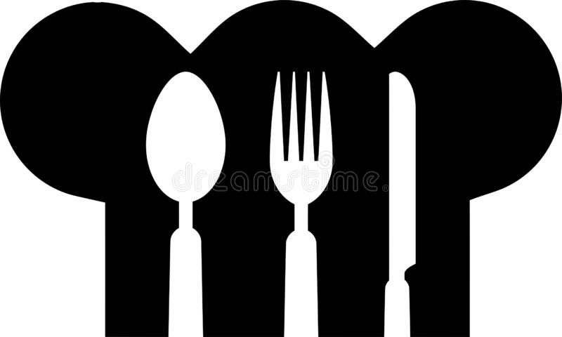 匙子、叉子、刀子和厨师的帽子,贴纸标签,餐馆商标 向量例证
