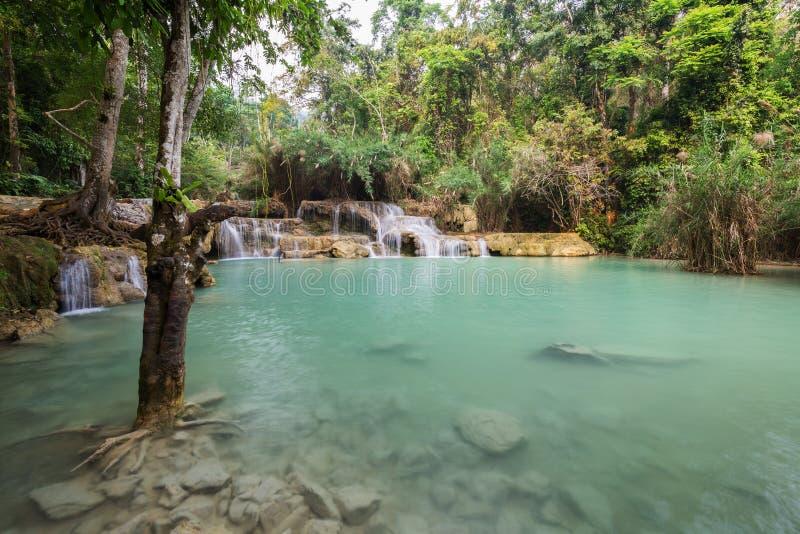 匡Si瀑布在老挝 图库摄影