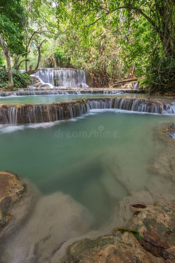 匡Si瀑布在老挝 库存照片