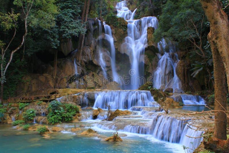 匡si瀑布,老挝人 图库摄影