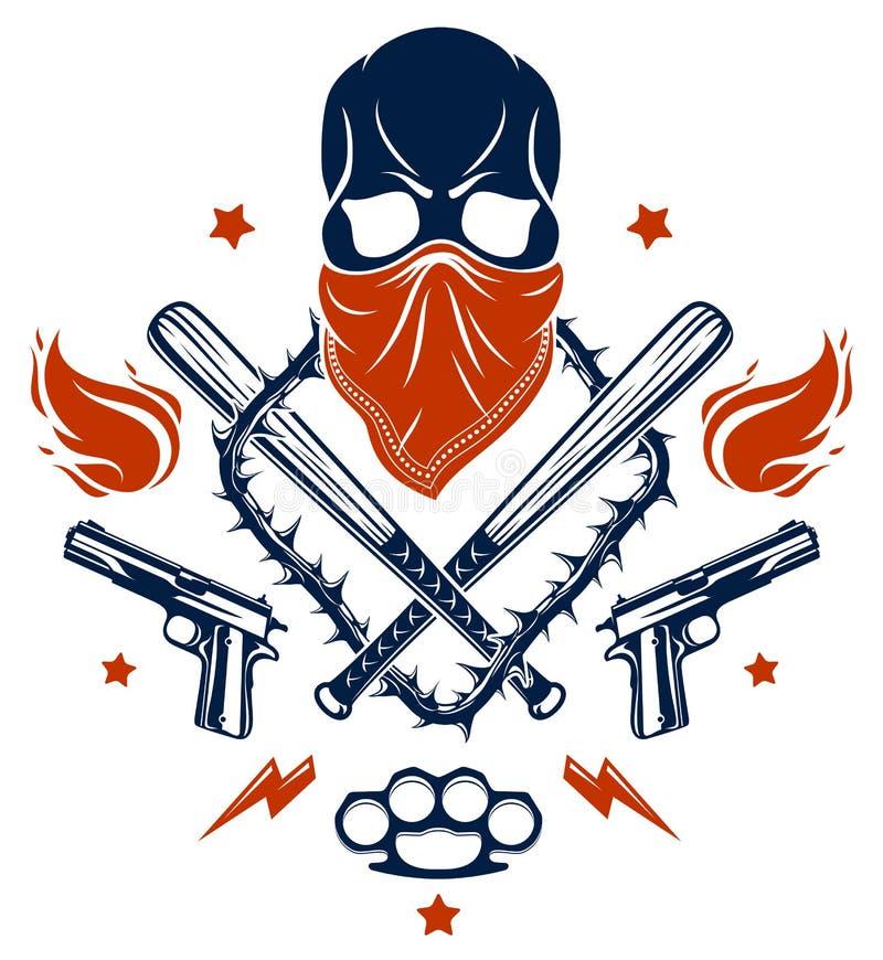 匪徒象征商标或纹身花刺与积极的头骨棒球棒和其他武器和设计元素,传染媒介,犯罪少数民族居住区 库存例证