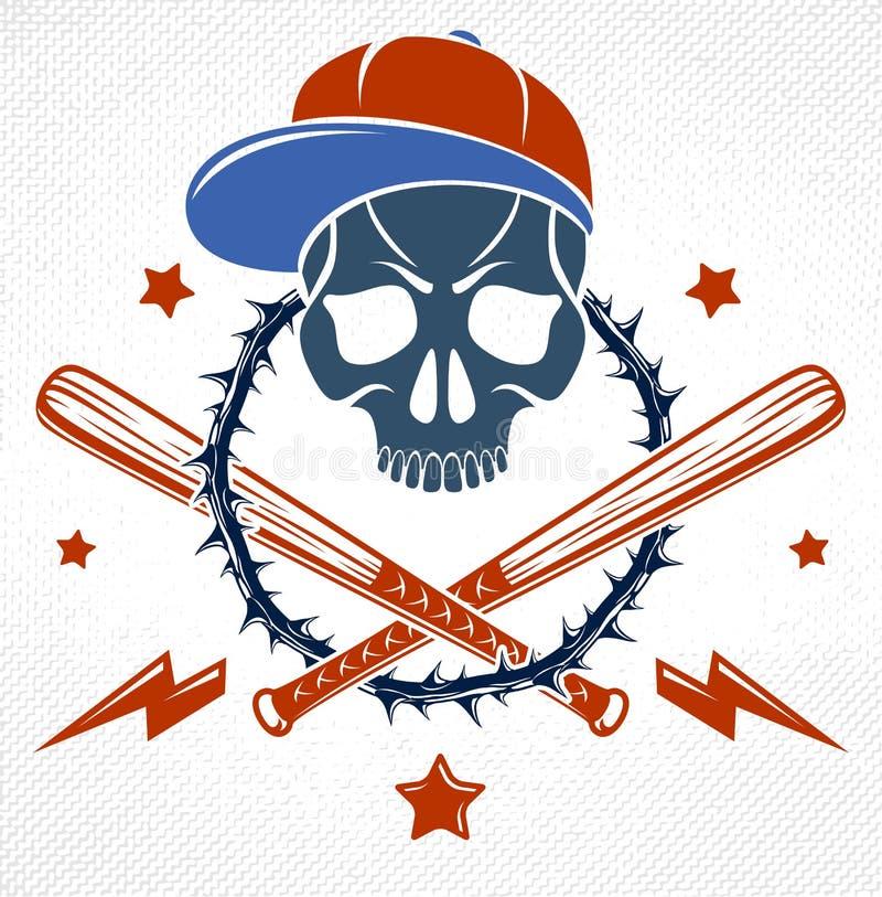 匪徒象征商标或纹身花刺与积极的头骨棒球棒和其他武器和设计元素,传染媒介,犯罪少数民族居住区 皇族释放例证