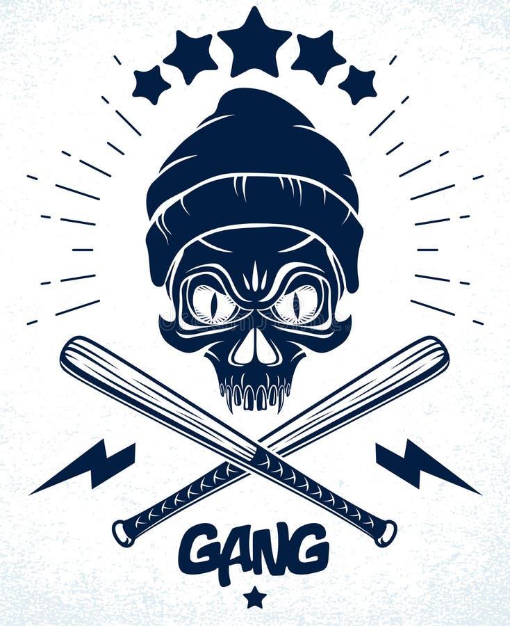 匪徒象征商标或纹身花刺与积极的头骨棒球棒设计元素,传染媒介,犯罪少数民族居住区葡萄酒样式, 库存例证