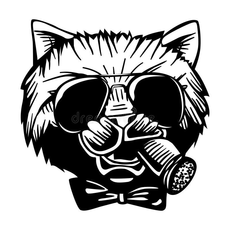 匪徒黑手党似猫的猫犯罪字符画象传染媒介黑色白色 库存例证