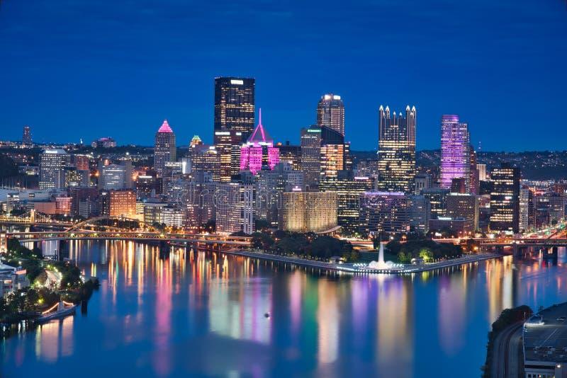 匹兹堡&蓝色小时 库存照片