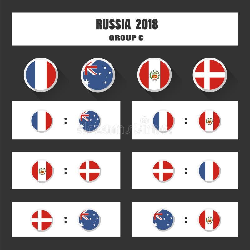 匹配日程表, 2018最后的凹道结果表,参与对国际比赛的国家旗子  向量例证