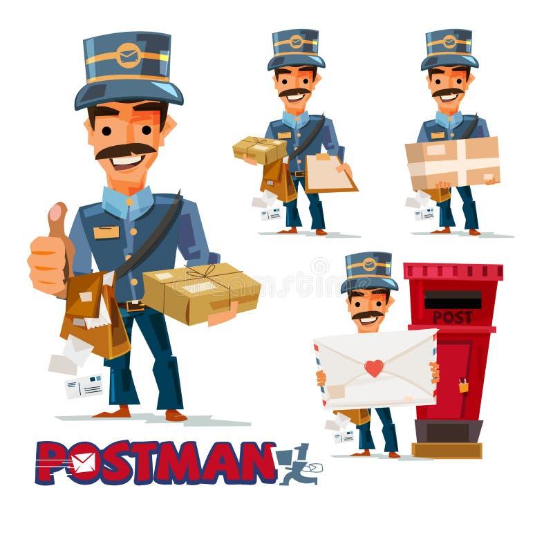 区别行动的邮差与印刷倒栽跳水设计的 库存例证