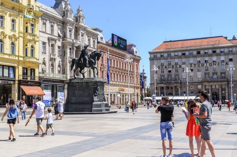 区域巴娜Josip Jelacic在市萨格勒布,克罗地亚 库存照片