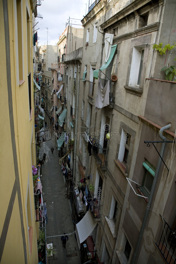 区巴塞罗那barri gottic场面西班牙街道 免版税库存图片