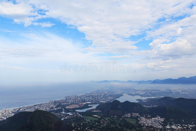 区巴拉岛da Tijuca里约热内卢鸟瞰图  库存照片