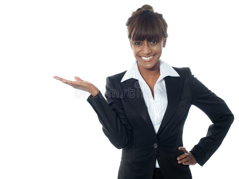 区copyspace行政显示的女性 库存照片