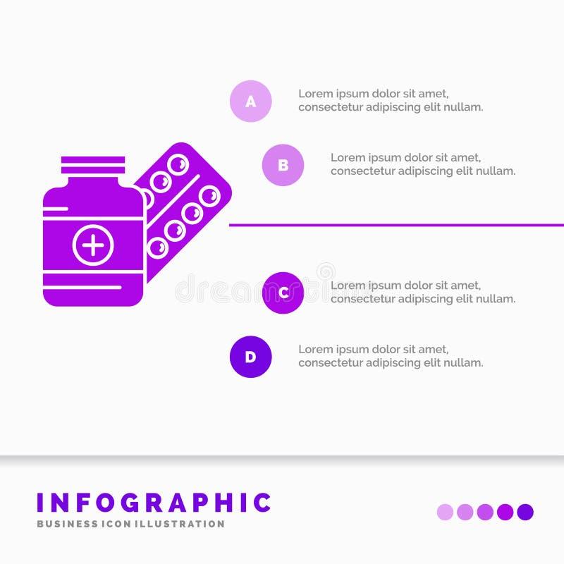 医学、药片、胶囊、药物、片剂Infographics模板网站的和介绍 r 库存例证