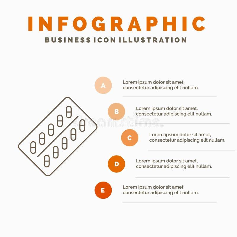 医学、药片、药物、片剂、小包Infographics模板网站的和介绍 r 向量例证
