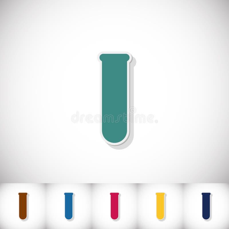 医学化验管 与阴影的平的贴纸在白色背景 库存例证