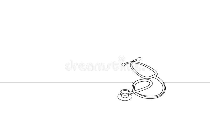 医学听诊器唯一实线艺术 医疗保健世界天医学研究医生护士设备 皇族释放例证