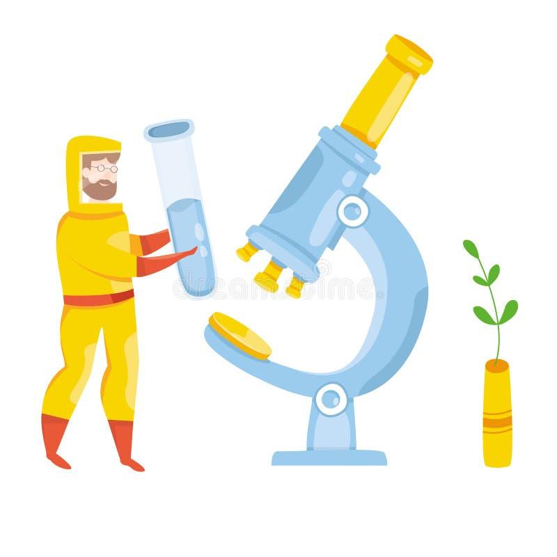 医学实验室的传染病医生 带疫苗的个人医疗 用于化学分析的血液样本 库存例证
