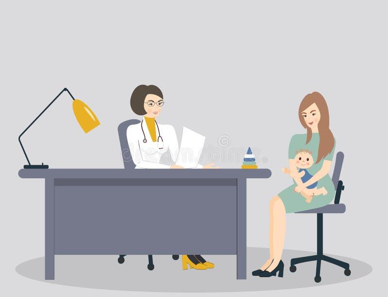 医学概念:俏丽的医生和妇女有婴孩的 实习者医生和逗人喜爱的女性和孩子患者在医院办公室 库存例证