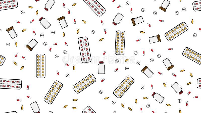 医学片剂药片糖衣杏仁无缝的样式纹理压缩纪录罐头与医学维生素药物的组装 库存例证