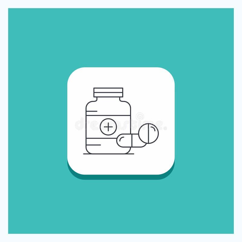 医学的,药片,胶囊,药物,片剂线象绿松石背景圆的按钮 库存例证