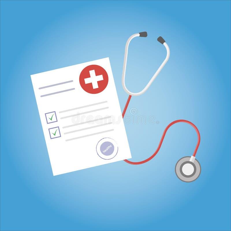 医学研究报告或合同传染媒介、平的健康或医疗记录记录纸或者保险文件在工作桌面上 向量例证