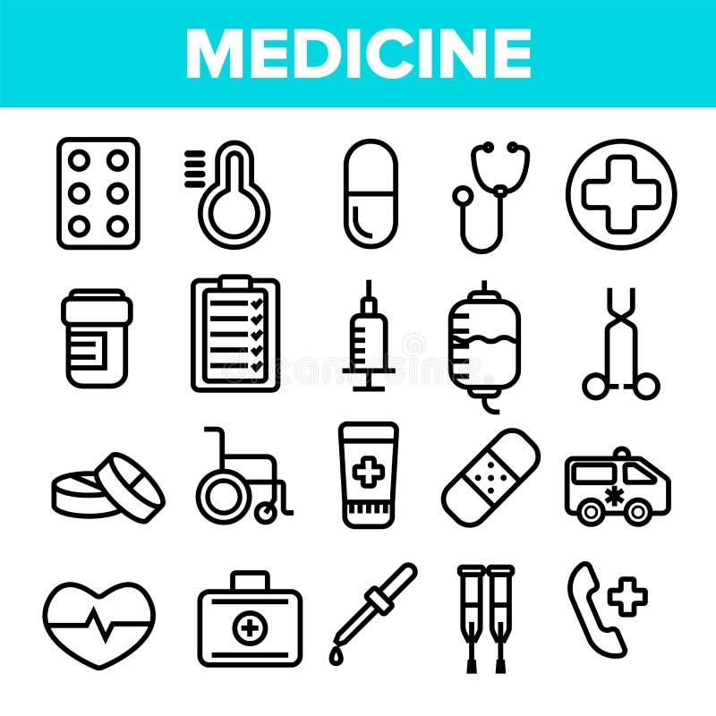 医学线象集合传染媒介 药房紧急标志 药物医学 诊所,医院象 稀薄的概述网 皇族释放例证
