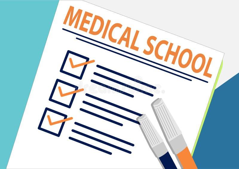 医学院或计划的象概念 所有任务完成 与校验标志、抽象文本和标志的纸板料 向量例证