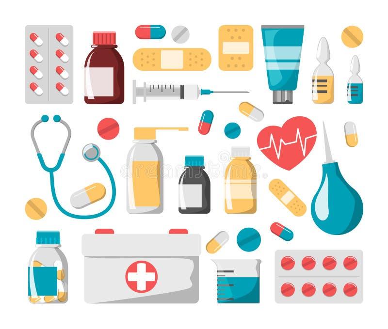 医学集合 药物瓶,药片,急救工具 皇族释放例证