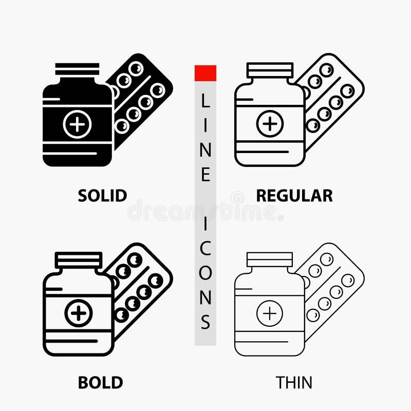 医学,药片,胶囊,药物,在稀薄,规则,大胆的线和纵的沟纹样式的片剂象 r 库存例证