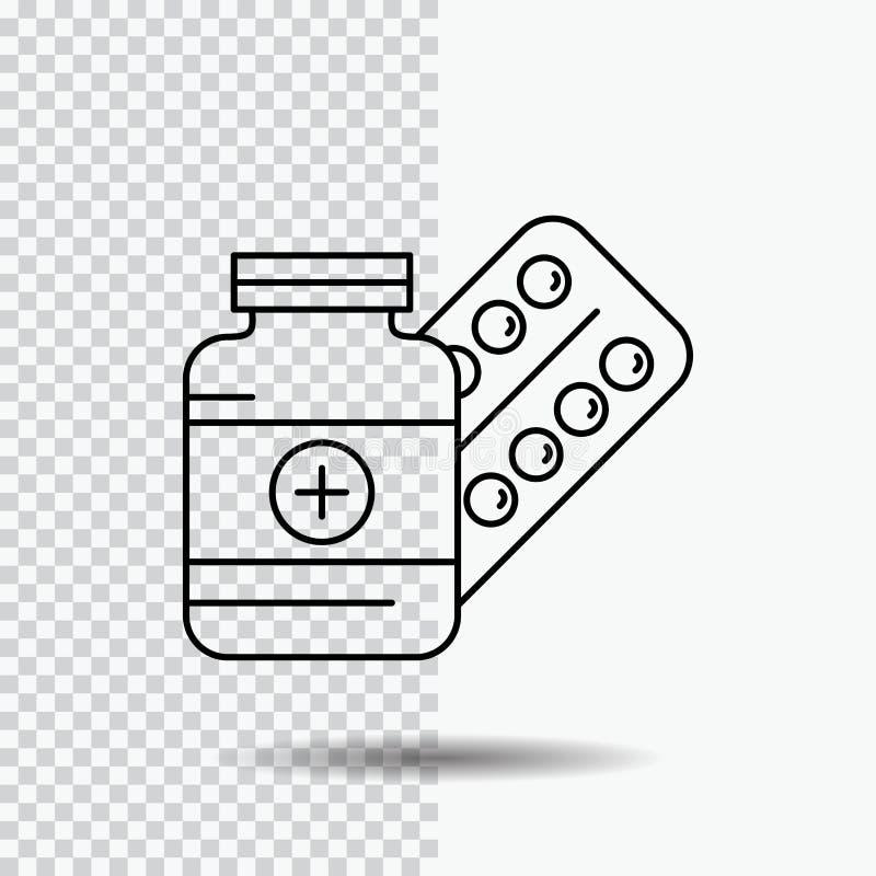 医学,药片,胶囊,药物,在透明背景的片剂线象 r 库存例证