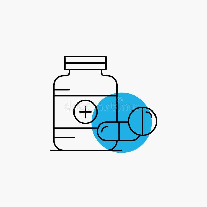 医学,药片,胶囊,药物,片剂线象 库存例证