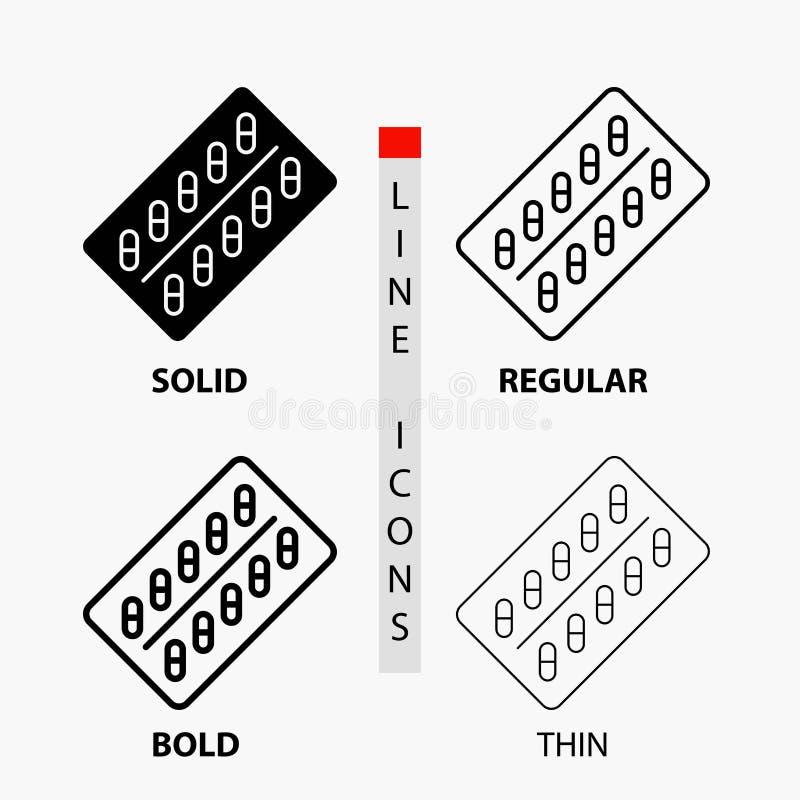 医学,药片,药物,片剂,在稀薄,规则,大胆的线和纵的沟纹样式的小包象 r 库存例证