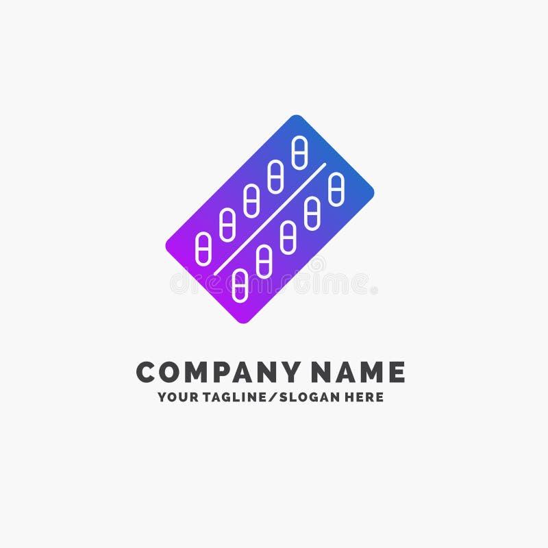 医学,药片,药物,片剂,小包紫色企业商标模板 r 库存例证