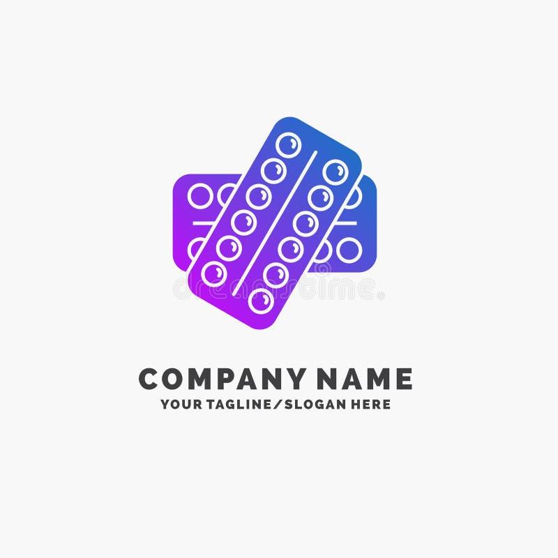 医学,药片,药物,片剂,耐心紫色企业商标模板 r 向量例证