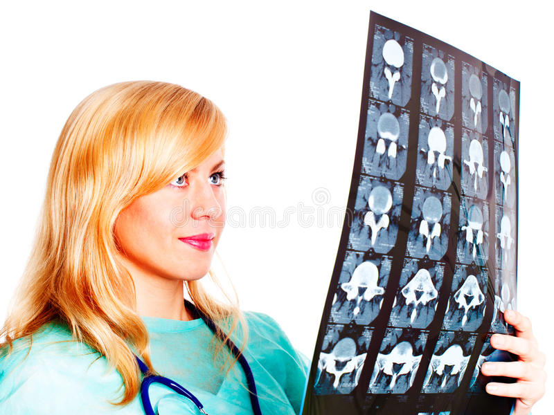 医治在照片光芒空白x的检查的女性 库存照片
