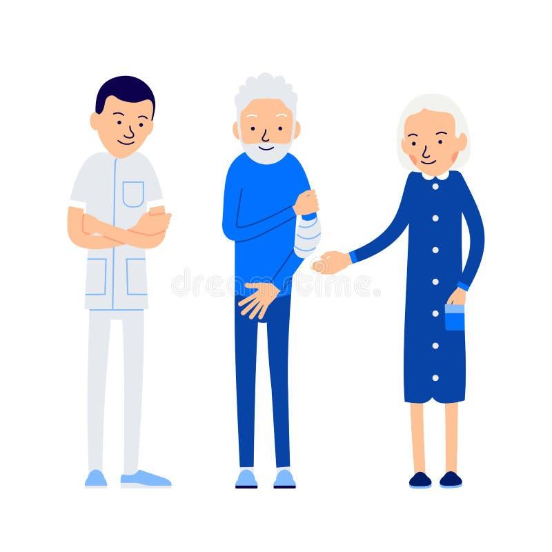 医治患者 年长人握疼痛手 患者是在m 皇族释放例证