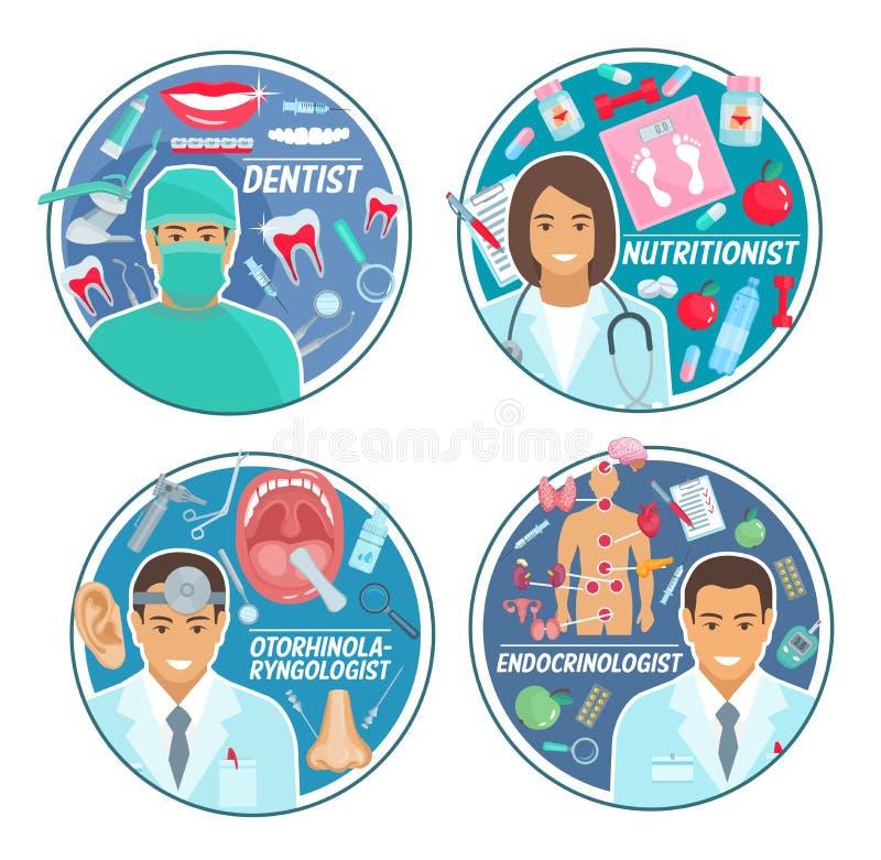 医生、人体器官和医疗工具 向量例证