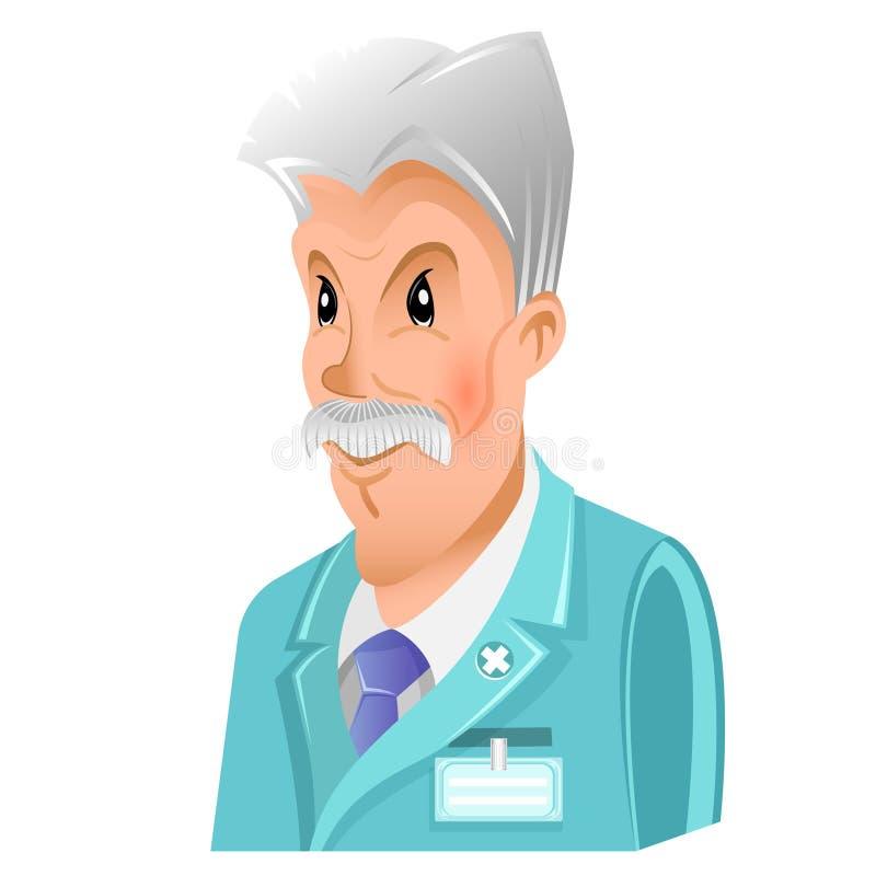 医生、教授或者科学家人平的象有灰色被隔绝的头发和髭的 皇族释放例证