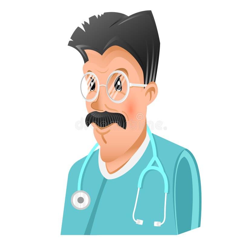 医生、教授或者科学家人平的象有被隔绝的黑色头发和髭的 库存例证