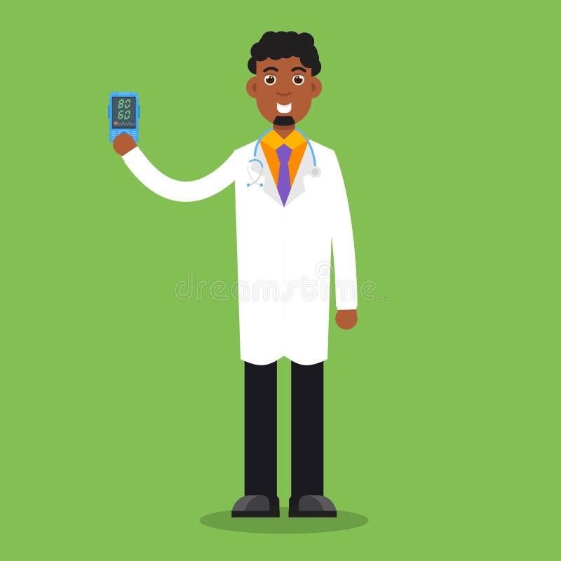 医生举行脉冲血氧定量计在手中 测量的心率app 向量例证