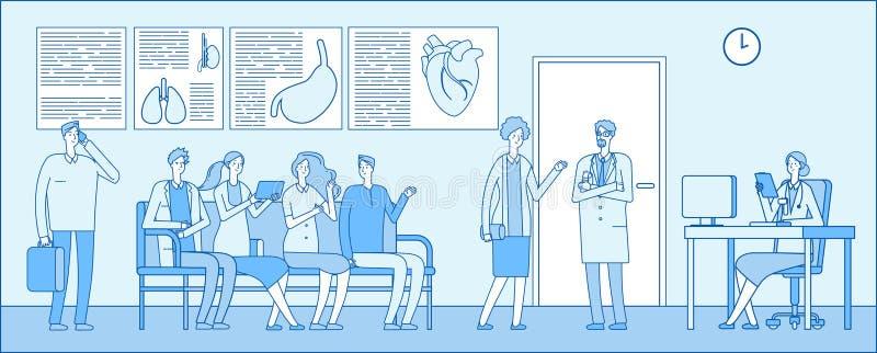 医生休息室 医生休息室 人患者医院队列医生诊所内部 医疗专家 向量例证