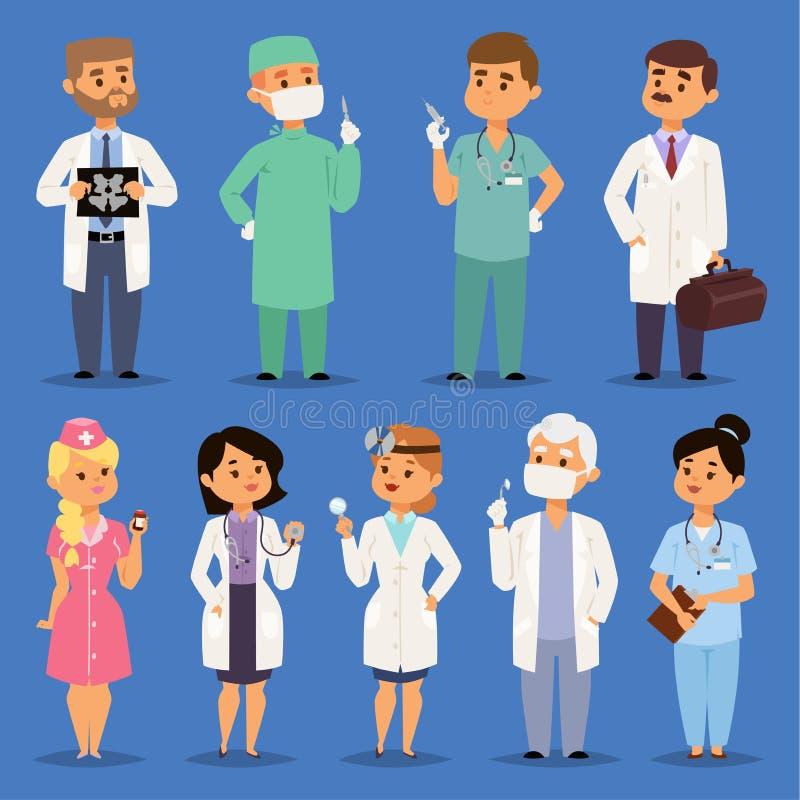 医生传染媒介男性和女性博士字符画象或专业医护人员医师或者军医护士 向量例证