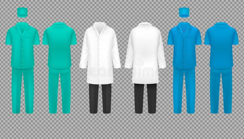 医生制服、医院护士外套和外科医生衣服,实验室衬衣被隔绝的传染媒介集合 皇族释放例证